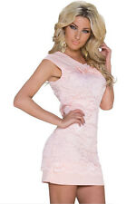 Pink Floral Lace Bow Mini Dress Club Wear Fashion Evening Wear Size  8 10 12