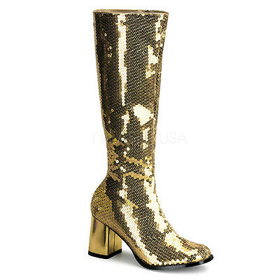 "Bordello 3/"" Block Heel Burlesque Gold Sequin Knee High Boots Glam 6 7 8 9 10 11"