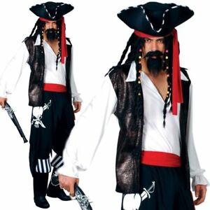4b149db9 Details about Adult Mens High Seas Buccaneer Pirate Caribbean Fancy Dress  Costume S-XL