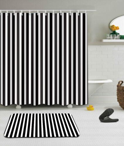 "71X71/"" Waterproof Bathroom Shower Curtain Black White Stripes Hook Bath Mat Rug"
