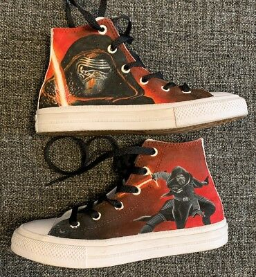 083cefc43021 Rare Converse Chuck Taylor Star Wars All Star Hi-Tops Trainers UK Child 1  Kylo