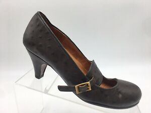 Chie-Mihara-Ostrich-Quill-Pump-Work-Heels-Mary-Jane-MJ-Buckle-Womens-36-US-6