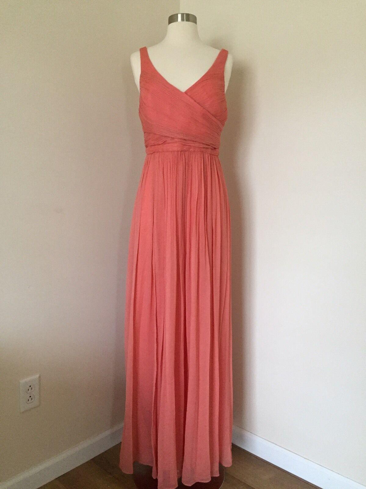 JCREW 298   de soie En mousseline de soie longue robe de Heidi 10 Bright Corail Demoiselle D& 039;Honneur Robe 93075