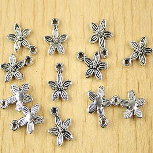 40pcs Tibetan silver plum flower charms h2643