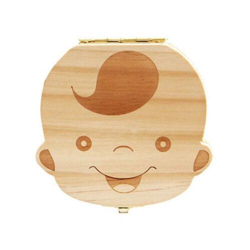 Baby Tooth Box Organizer Save Milk Teeth Wood Boy Girl Kids Storage Fairy Case