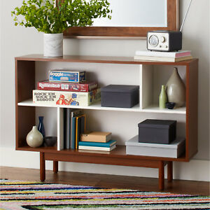 Image Is Loading Console Bookshelf Bookcase Mid Century Media Storage Cabinet