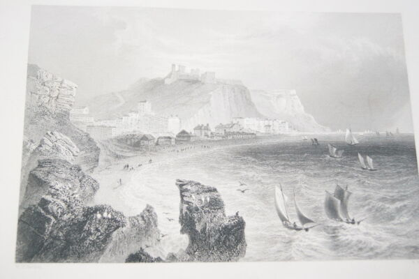 Discret Hastings With The Town And Castle Gravure Print 1842 Bartlett Port Harbour R2079