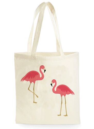 CUTE FLAMINGO LOVE POSTER COOL SHOPPING CANVAS TOTE BAG IDEAL GIFT PRESENT