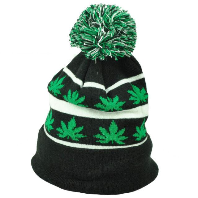 324aef3a2 Marijuana Black Pom Pom Knit Beanie Cuffed Ganja Rastafari Leaf Weed  Cannabis