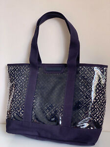 0a413900aa Image is loading NEW-TOMMY-HILFIGER-TRANSPARENT-CLEAR-BLUE-SHOPPER-SATCHEL-
