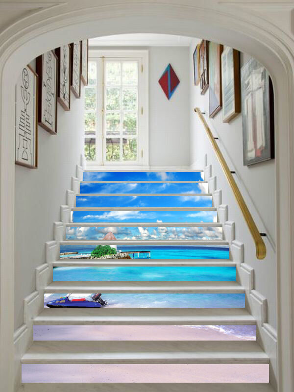 3D Beach Sky 502 Stair Risers Decoration Photo Mural Vinyl Decal Wallpaper AU
