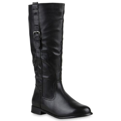 894081 Klassische Stiefel Damen Lederoptik Schnallen Trendy