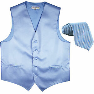 New formal men's tuxedo vest waistcoat & necktie horizontal stripes light blue