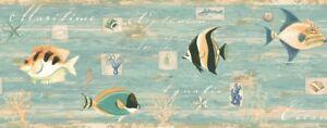 Tropical-Fish-Shells-Sea-Life-on-Weathered-Teal-Wallpaper-Border-CT46061B