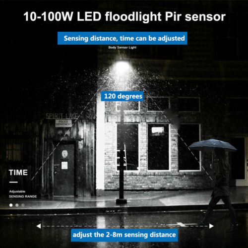 Slim 500W PIR LED Floodlight SMD Outdoor Waterproof IP67 Security Warm//Cool Lamp