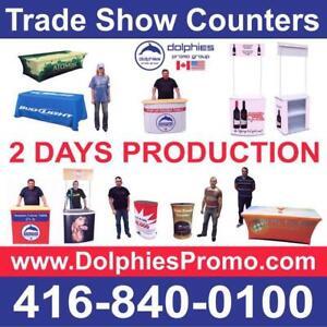 Portable Promo Marketing Event Sampling Pop Up Kiosk Table Promotional Counter + CUSTOM GRAPHICS - www.DolphiesPromo.com Ontario Preview