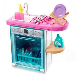 Barbie-Indoor-Furniture-Living-Kitchen-Dishwasher-Accessories-Set-NEW