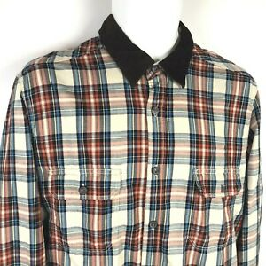 LOGG by H&M Shirt M Fitted Mens Plaid Corduroy Button Front Label of Graded Good