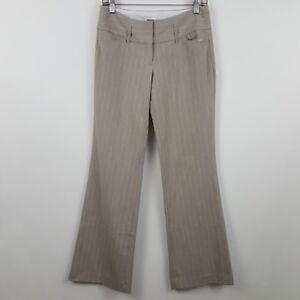 Express-Editor-Light-Brown-Stripe-Women-039-s-Career-Dress-Pants-Sz-2R-28-x-33