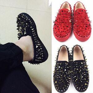 Homme-rivet-pointes-cloutees-en-cuir-Plat-Loafers-Sneaker-Low-Top-Punk-Chaussures-De-Loisirs