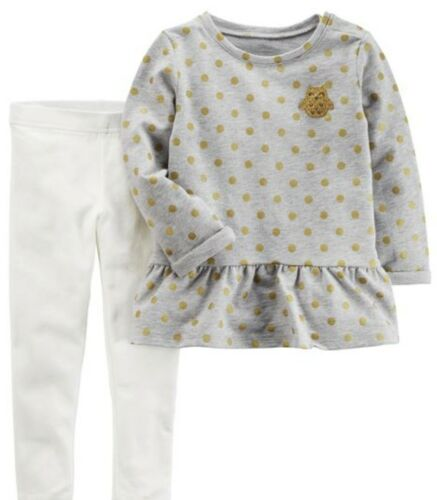 Carter/'s Girl Gray Terry Top with Gold Owl /& Sparkle Legging 2pc Set NWT $24