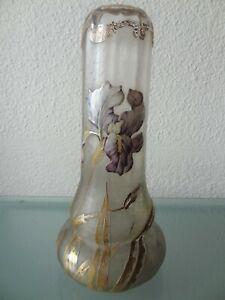 ancien-grand-vase-emaille-non-signe-Legras-decors-fleurs-iris-art-nouveau