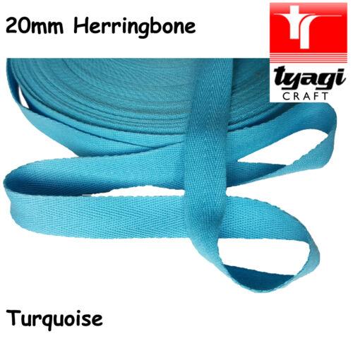 "TURQUOISE  20mm 3//4/"" inch Herringbone Tape Cotton Trim Strap Apron Upholstery"