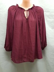 COTTON-ON-HIPPY-BOHO-CLARET-RED-CASUAL-PARTY-TOP-SIZE-XS