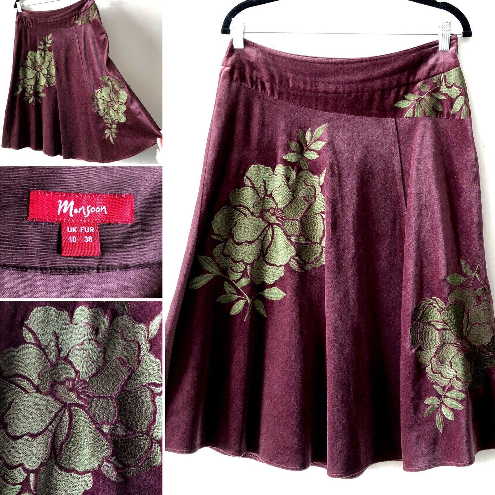 MONSOON Dusky lila Aubergine Velvet Grün Floral Embroidery Flare Skirt 10