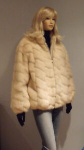 Real Jacket Mink xl Excellent Fur M Genuine Size White Pearl OqFEXX