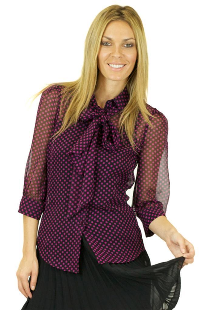 Halston Heritage Removable Tie Blouse schwarz Fuchsia lila top silk sheer blouse