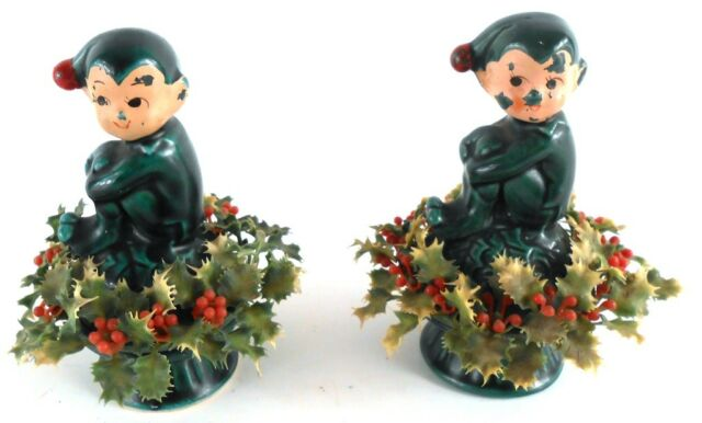 Inarco Pixie Elf Knee Huggers Pair Set of 2 Figurines Made in Japan Vintage
