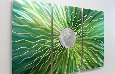 Green & Silver Metal Wall Art Painting  - 3 Panel Modern Wall Decor by Jon Allen