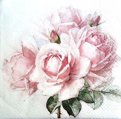 4 Single Paper Napkins, for Decoupage, Sagen, Napkin, Vintage,Craft, Roses A