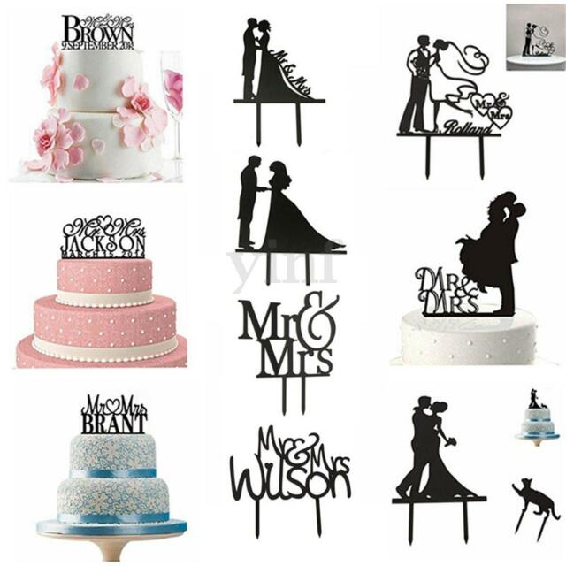 Wedding Mr & Mrs Bride & Groom Cake Topper Anniversary Party Favours Decoration