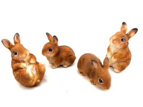 Rabbit Family Statue Figurine Ornament Baby Bunny Garden Sculpture *Set of 4*
