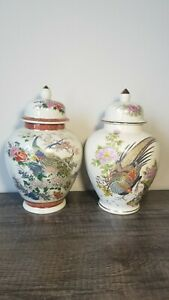 SET OF SATSUMA JAPANESE VASE/URN, PEACOCK DESIGN, ARNART IMPORTS INC. VINTAGE
