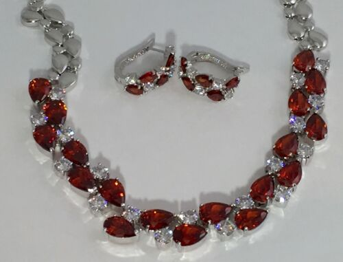 14k White Gold Necklace Earrings Set made w// Swarovski Crystal Red /& Clear Stone