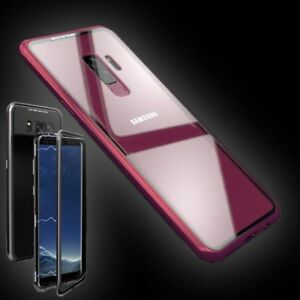 For-Samsung-Galaxy-S9-plus-Magnet-Metal-Glass-Transparent-Red-Case