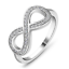 Infinity-Women-925-Silver-Wedding-Rings-Jewelry-White-Sapphire-Ring-Size-6-10 miniature 3