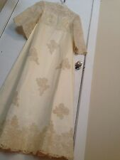 Vintage Wedding Dress Gown Maurer 60s Hand Embroidered Alencon Lace Beads Silk