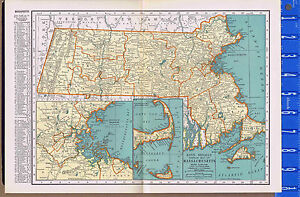 MASSACHUSETTS - Vintage 1930s Color State Map with Principal City List