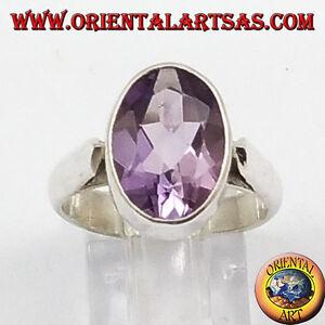 Anello-d-039-argento-con-Ametista-naturale-sfaccettata-ovale