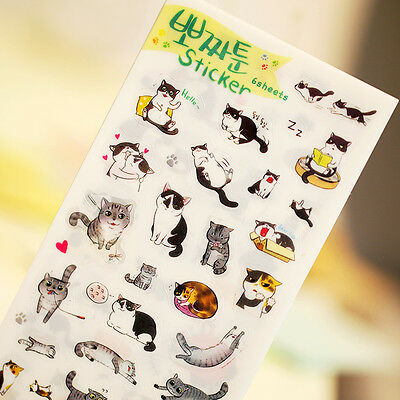 New 6 sheet naughty cat creative transparent PVC stationery album diary stickers