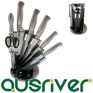 stainless steel 8pc kitchen chef knife block gift set knive scissor sharpener ebay. Black Bedroom Furniture Sets. Home Design Ideas