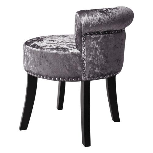 Makeup Vanity Stool Bedroom Crushed Velvet Dressing Table Tub Chair Wood Legs UK
