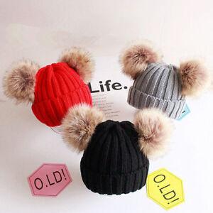Kids Girls Age 2-6 Winter Fur Pom Pom Ball Knit Crochet Bobble Hat ... 9d49284aec25