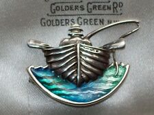 Scottish Norman Grant polvo H/M Plata Esmalte Pescador Barco Náutica Broche/Pin