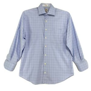 Peter-Millar-Shirt-Mens-Size-L-Large-Blue-Checked-Long-Sleeve-Button-Front-read