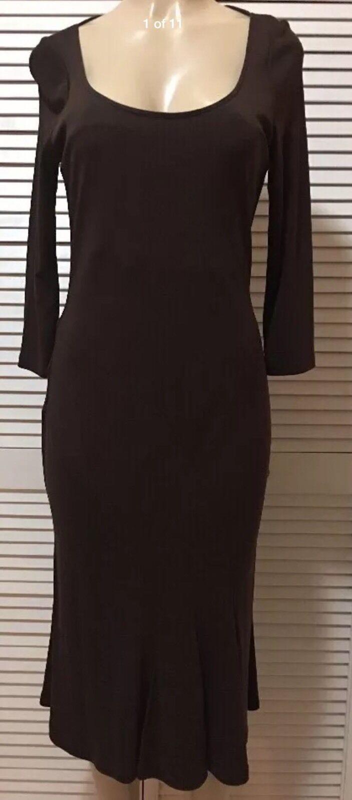NWT Lauren Ralph Lauren Three Quarter Sleeve Brown Flounce-Hem Dress Size Medium